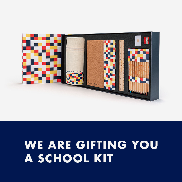 WE ARE GIFTING YOU A SCHOOL KIT キッズ商品を税込み18,000円以上お買い上げで オリジナル文房具セットプレゼント 詳しく見る