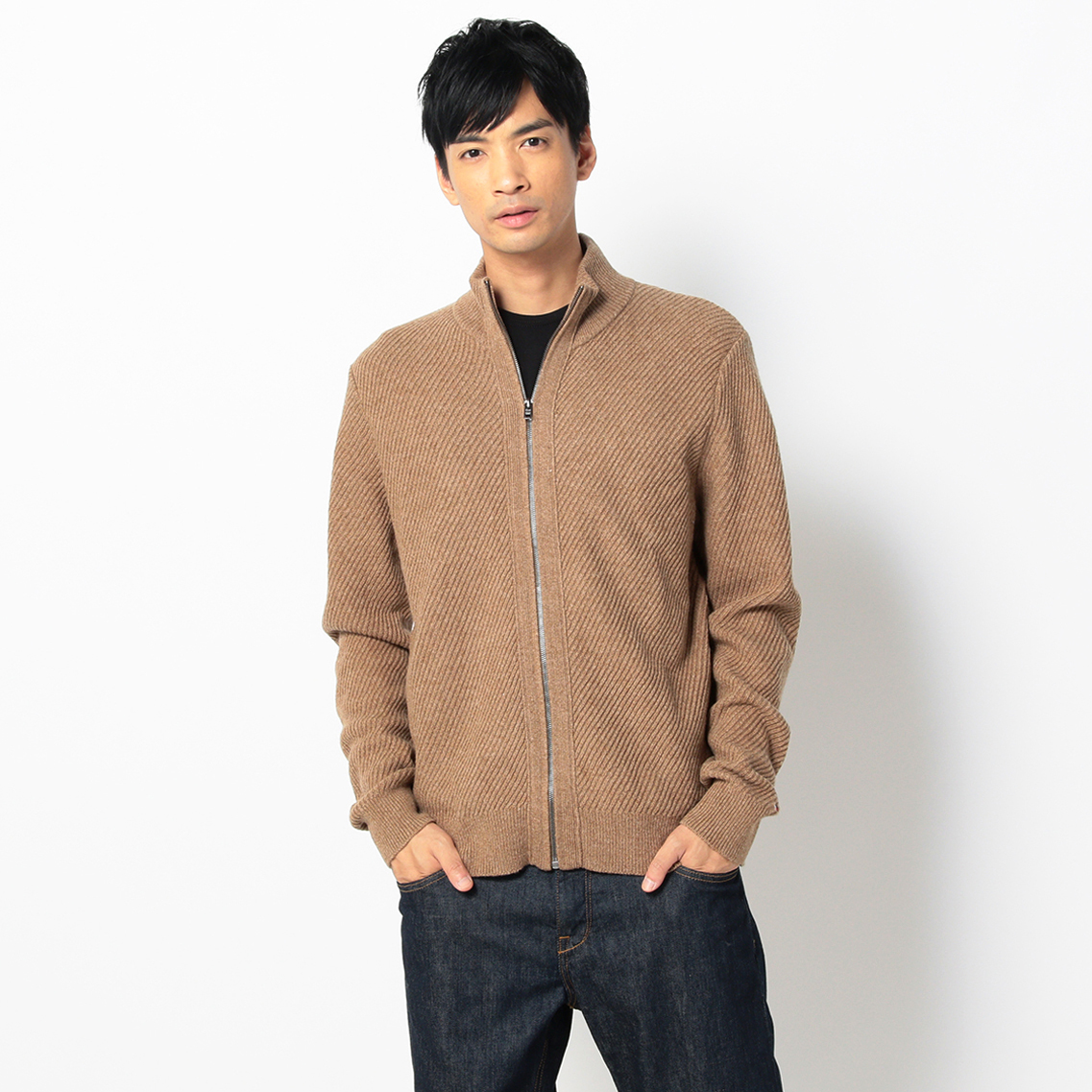 LAMBSWOOL MIX ZIP-UP CARDIGAN