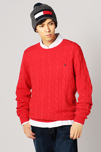 CREW NECK CABLE KNIT PULLOVER