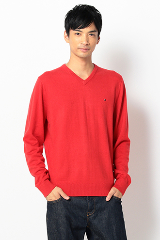 PIMA COTTON CASHMERE V-NECK PULLOVER