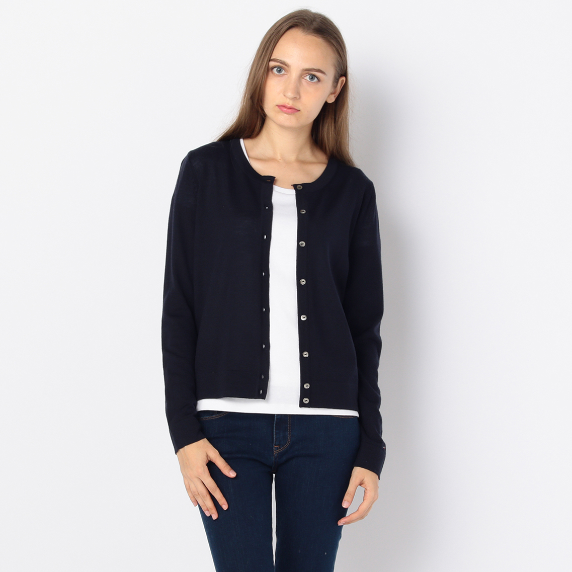 WOOL CREW-NECK CARDIGAN