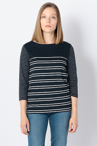 COTTON BOAT-NK BORDER TOP