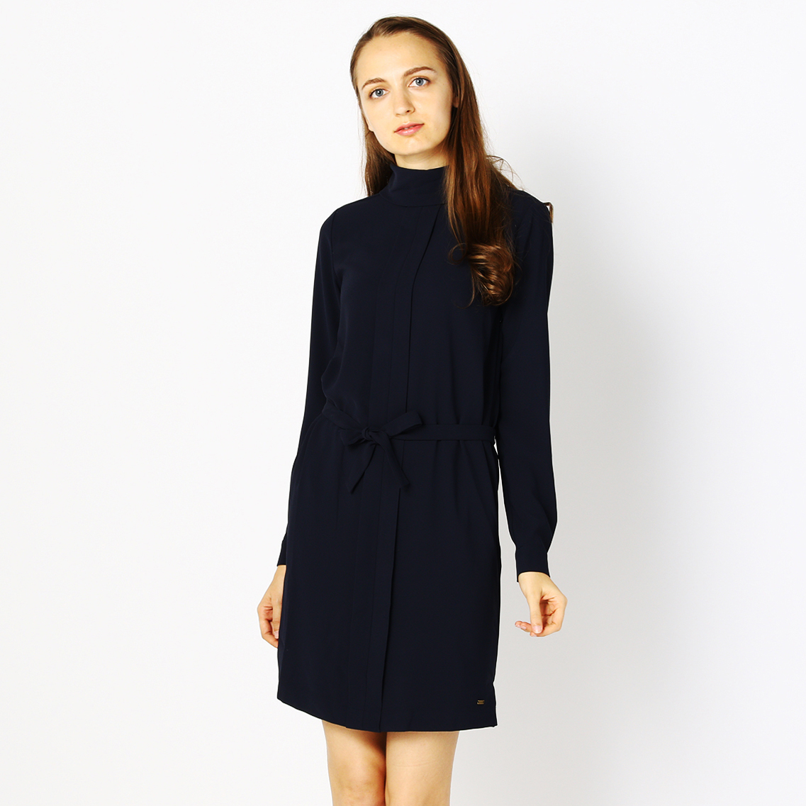 ROLL-NECK PLEATED DRESS