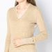 EXTRAFINE WOOL PLATED V-NECK SWEATER