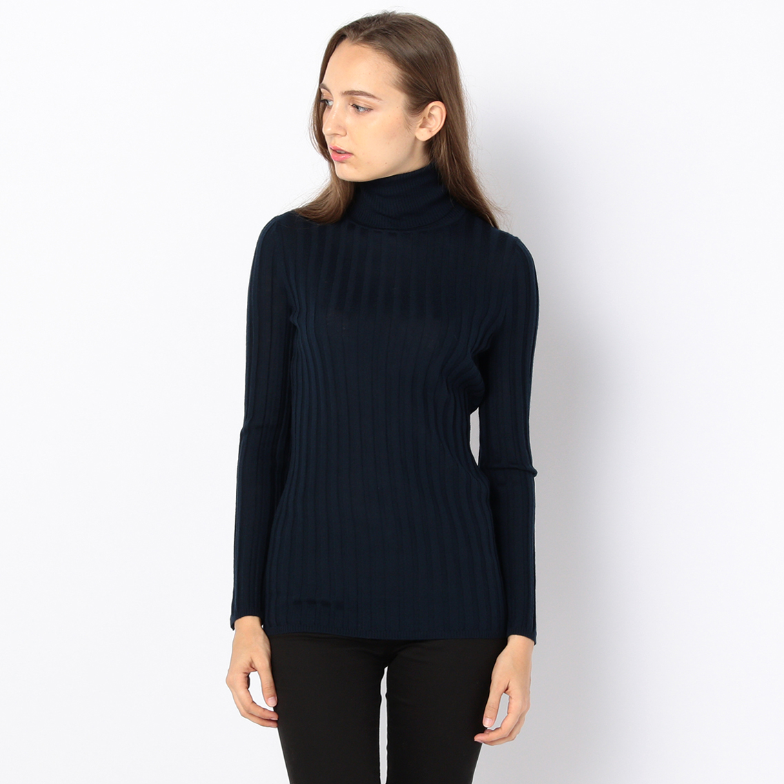 WOOL RIB TURTLE-NECK SWEATER