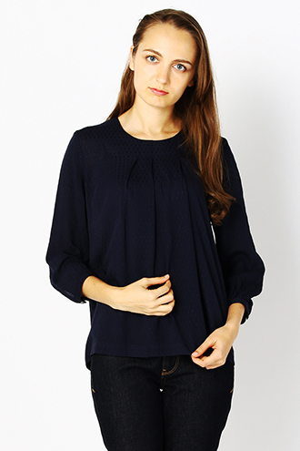 DOBBY DOT 3/4 SLEEVE BLOUSE