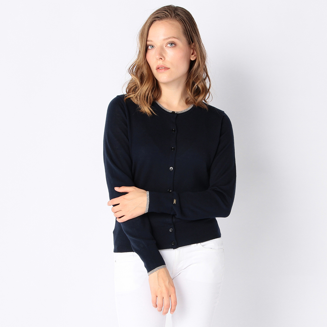 TIPPING CREW-NECK CARDIGAN