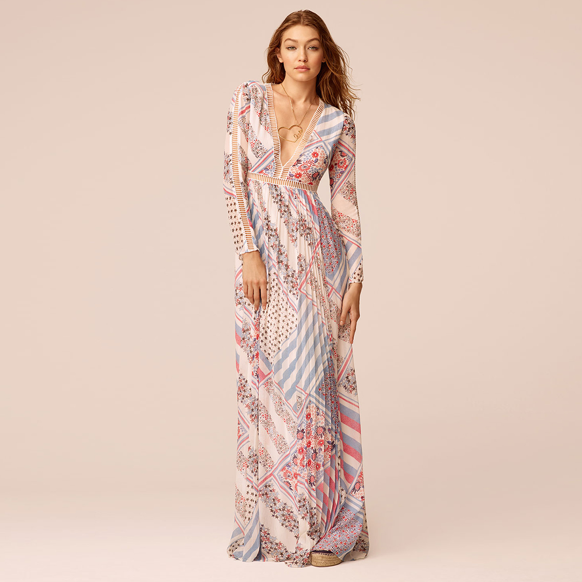 Pure Silk Printed Maxi Dress Gigi Hadid